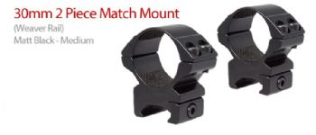 Hawke Match 30mm MEDIUM Weaver-Picatinny 20mm Base Scope Mount Rings - 22116